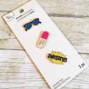 Accessories - Set of 3 Enamel Pins Sunglasses Chill Pill Awesome